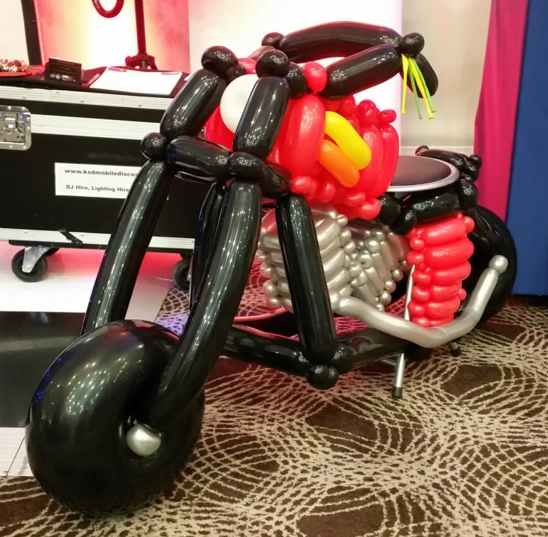 Nick Twist builds an amazing balloon motorbike.