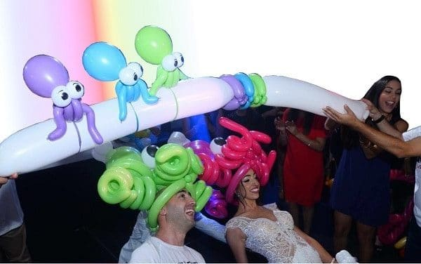 An octopus inspired balloon limbo game. The most fun wedding entertainment!