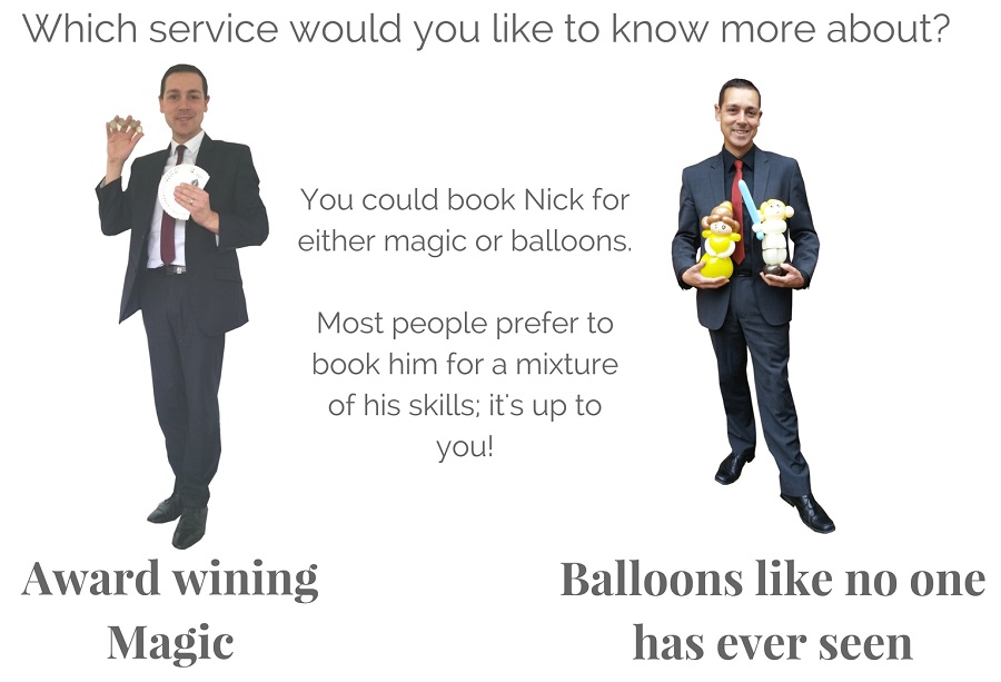 A picture showing Nick Twist with magic and balloons.