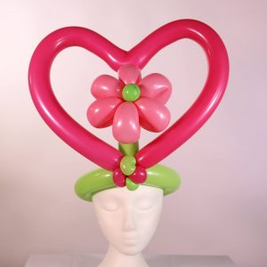 Flower in heart hat