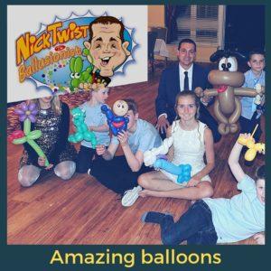 Balloon twisting with children enjoying their animals