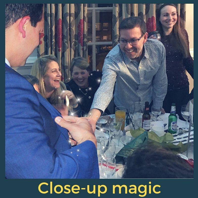 Close up magic at a party