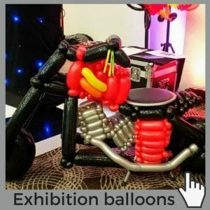 Balloon-decoration-norwich-featuring ride-on motorbike