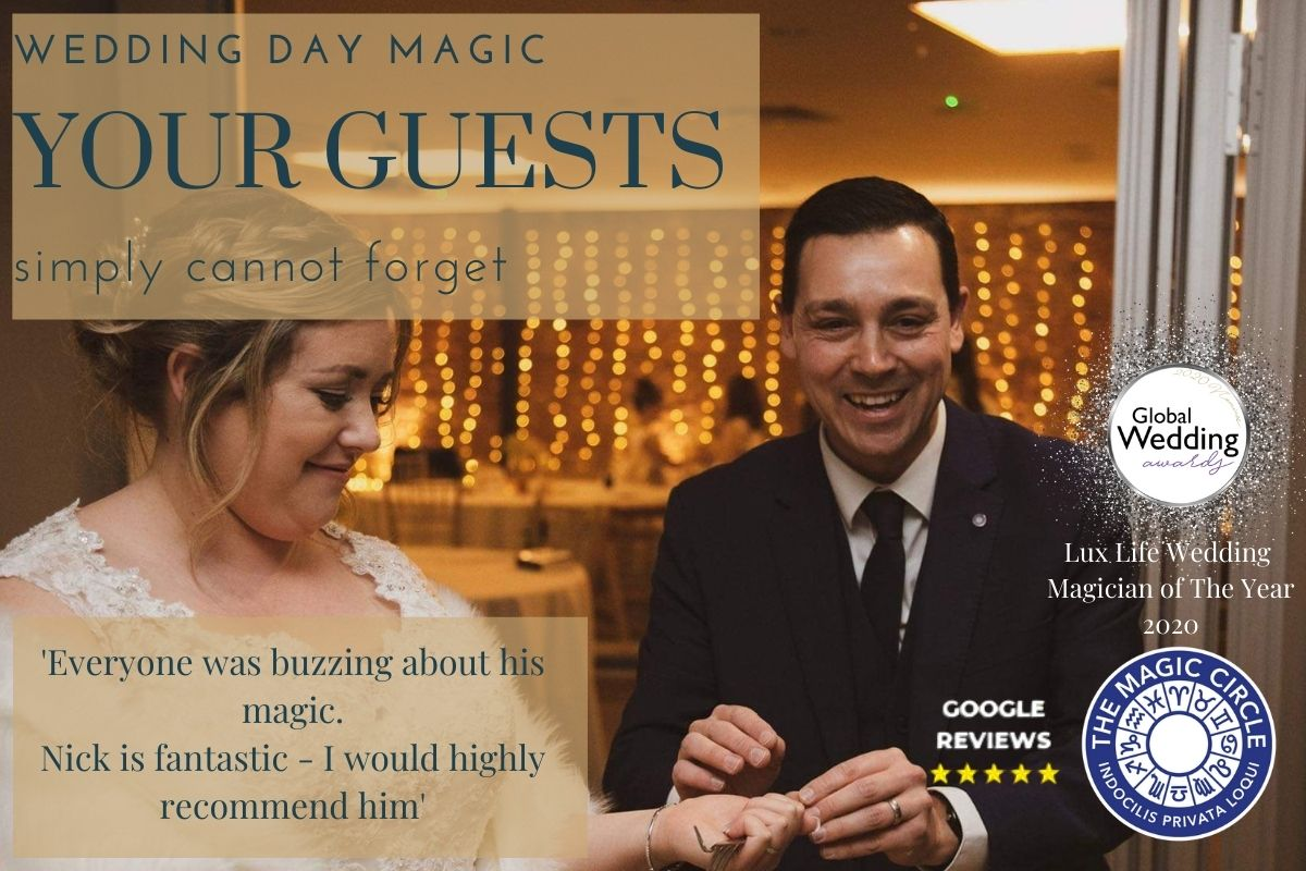 wedding magician with bride close up magic