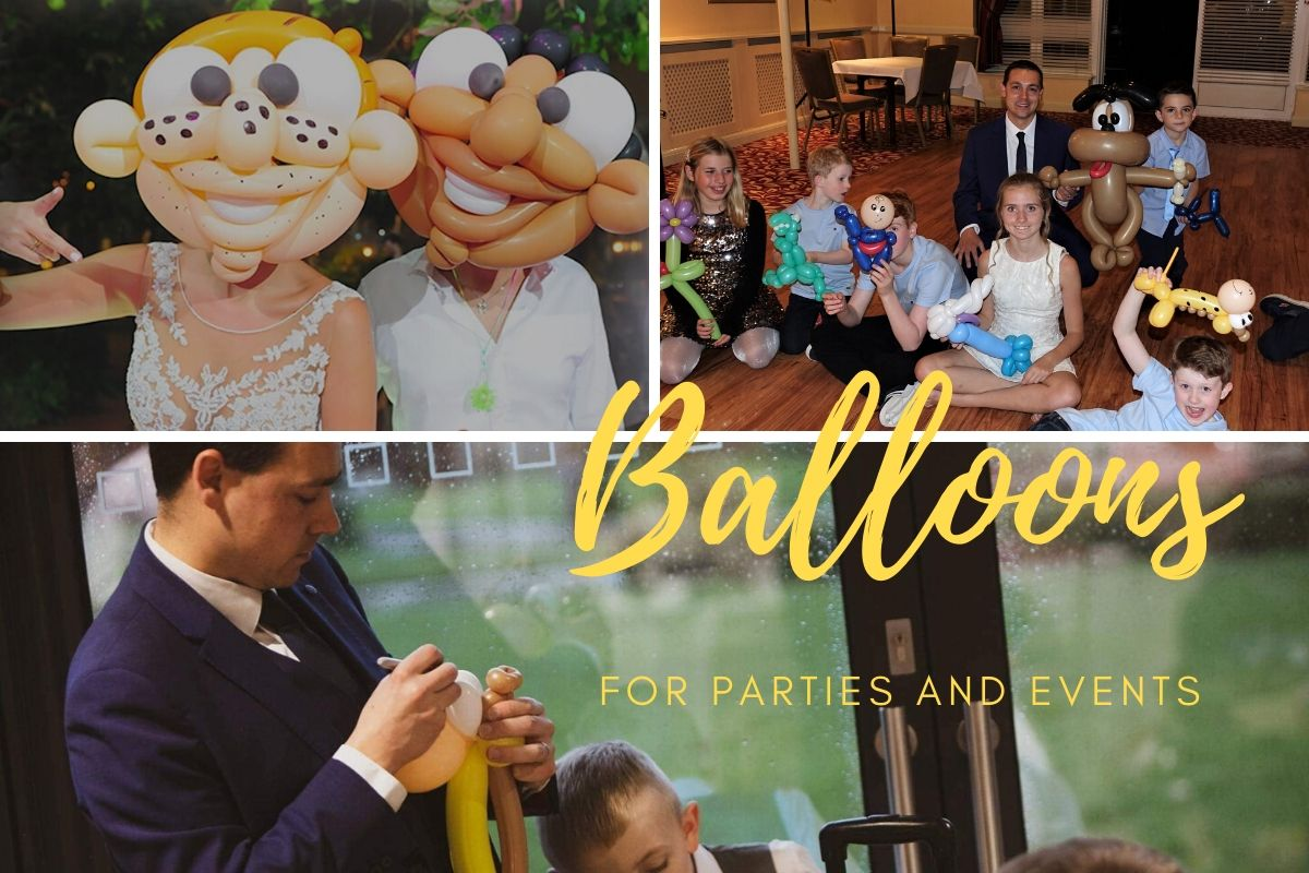 Balloons on dance floor with adults and children