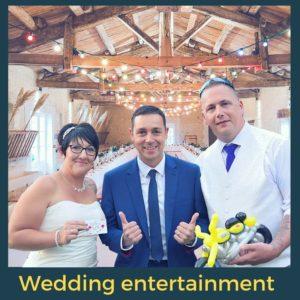 Wedding magician and balloon twister