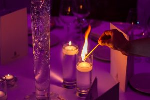 candles at a wedding table