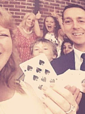 Wedding at Barnham Broom, Norwich, Card magic family fun