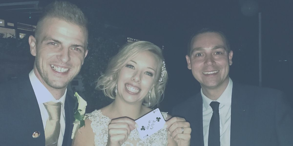 Nick Twist magic with bride and groom
