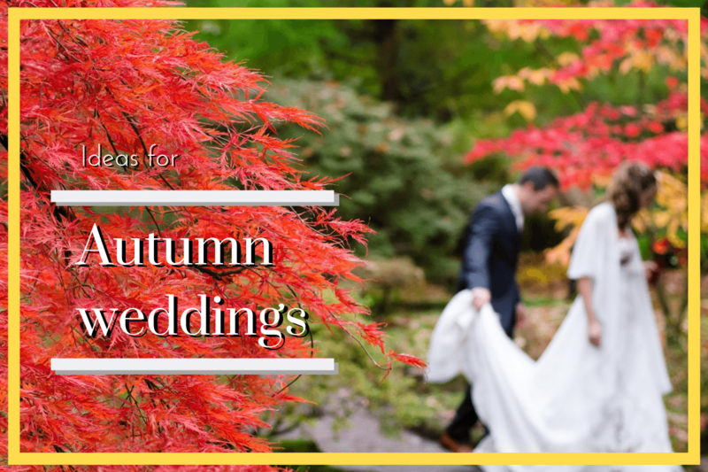 Bride and groom at an autumn wedding