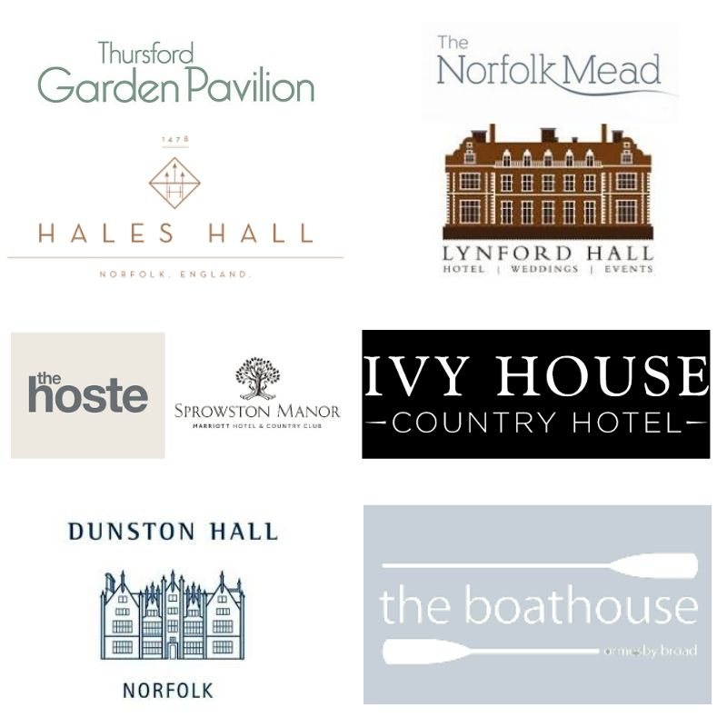Logos of Venues - Garden Pavillion-The Norfolk Mead-Hales Hall-Lynford Hall-The Hoste-Sprowston Manor-Ivy House Country Hotel-Dunston Hall-The Boathouse