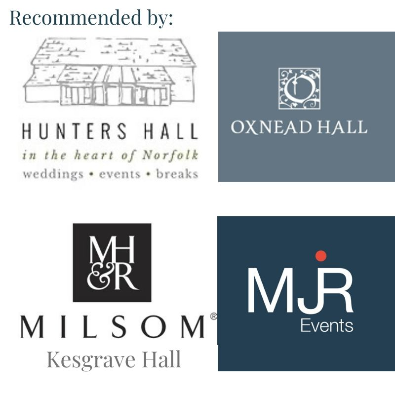 Logos of venues recommending Nick - Hunters Hall - Oxnead Hall - Milsoms Kesgrave hall