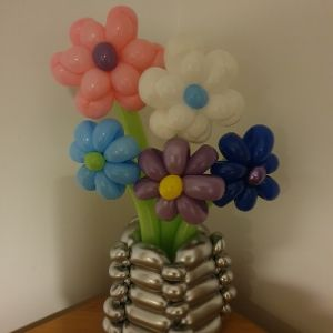 Balloon flower bouquet in vase